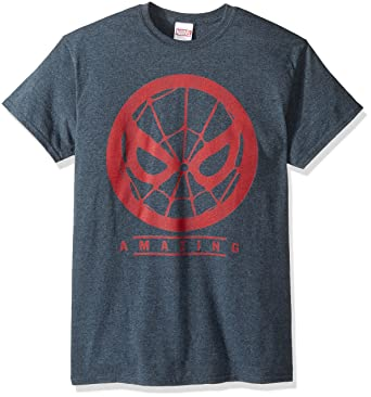 e400b41048b9 Marvel Men's Spider-Man Amazing Red Design T-Shirt, Dark Heather, Small