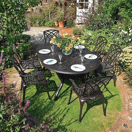 Jessica Mesa de Jardín y 6 Sillas April en Bronce Antiguo con Cojines de Asiento en Piedra | Lazy Susan Muebles de Jardín: Amazon.es: Jardín