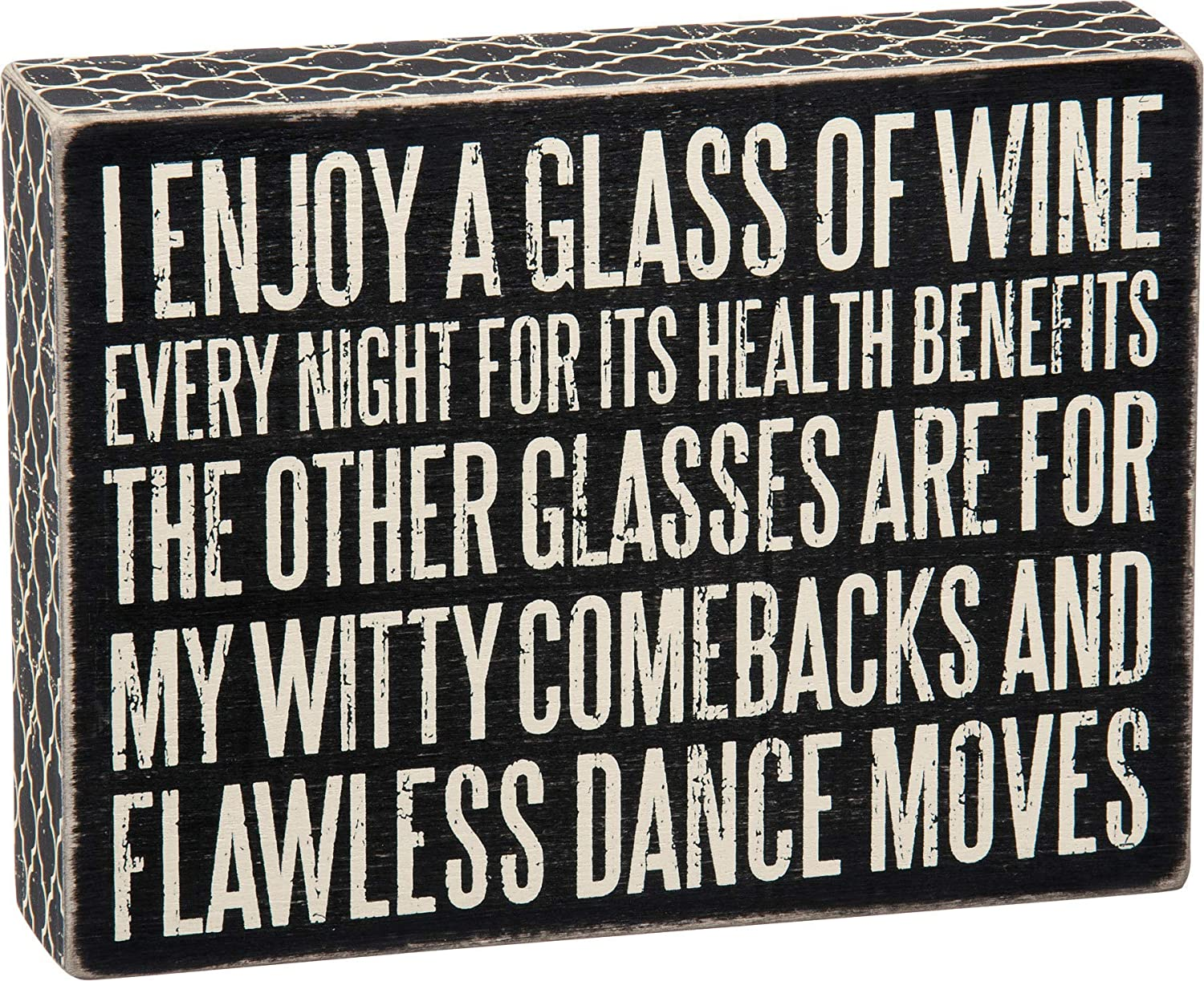 Primitives by Kathy Lattice Trimmed Box Sign, 8 x 6-Inches, Glass of Wine