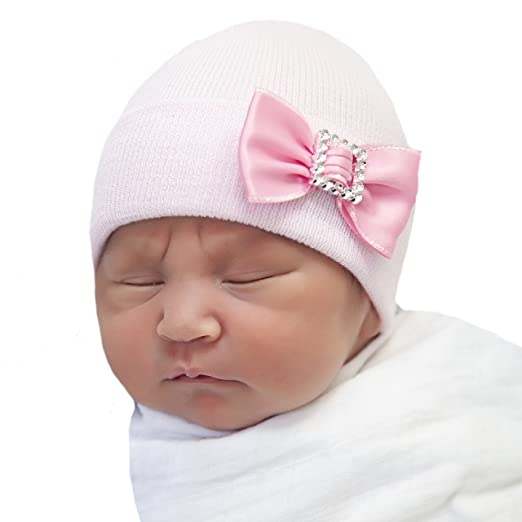 Amazon.com  Melondipity Pink Nursery Hat with Pink Satin Mini Bow ... 32cd9bc96785