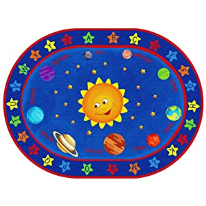 ECR4Kids Out of This World Alphabet Educational Rug for Children, School Classroom Learning Carpet, Oval, 6 x 9-Feet