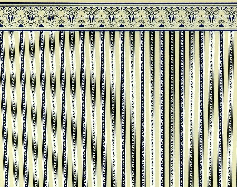 Melody Jane Puppenhaus Hellblau auf Weiß Windsor Streifen Miniatur Tapete