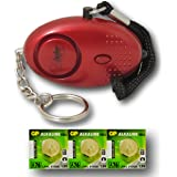 Minder® 140db Police Approved Metallic Red Mini Minder Loud Personal Staff Panic Rape Attack Safety Security Alarm Keyring with Torch - Secured by Design Approved (Police Preferred Specification) - With Spare Set of Batteries