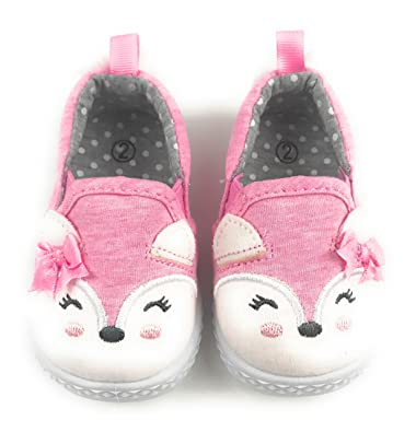 a05b72c56 Toddler Baby Girls Canvas Unicorn, Kitty Cat or Fox Slip-On Slipper Shoes (
