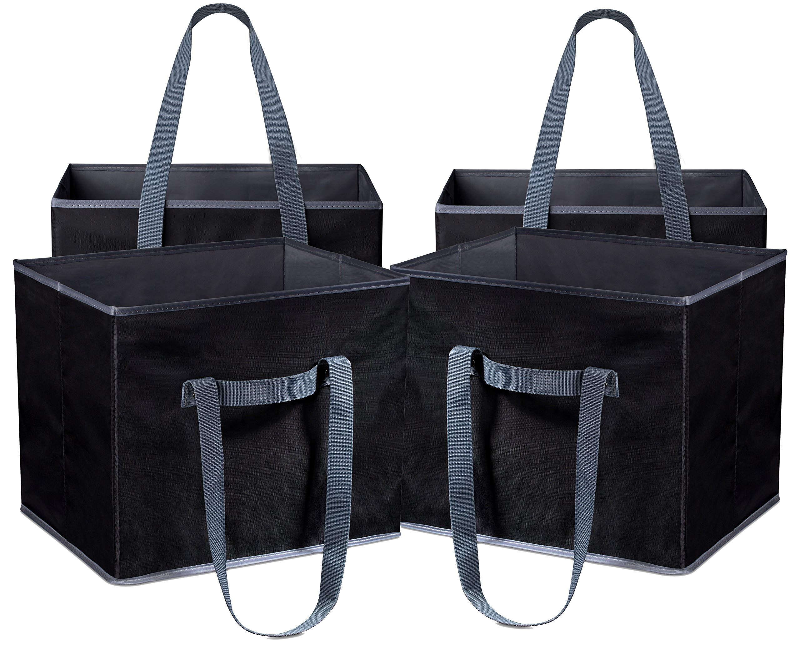 Reusable Shopping Cube Grocery Bag - These Sturdy Tote Bags will Keep your Car Trunk Groceries in Place. Long Handles to Carry in Hand or Over Shoulder. Folds Flat for Convenient Storage. (Set of 4) by Masirs