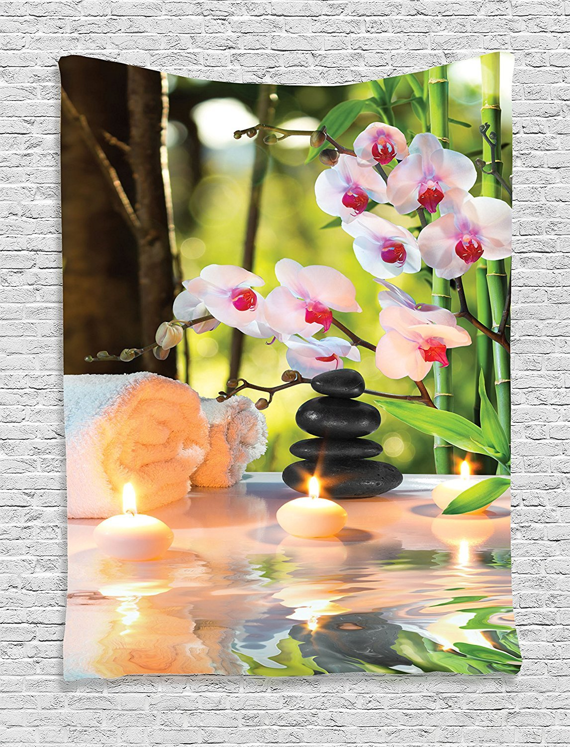 asddcdfdd Spa Decor Tapestry Wall Hanging, Massage Composition Spa With Candles, Orchids, Stones In Garden, Bedroom Living Room Dorm Decor, 60 W x 80 L Inches