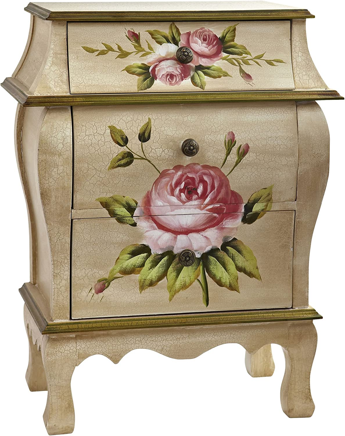 """Nearly Natural Antique Night Stand w/Floral Art Nightstand, Beige/Pink/Gold,23"""" x 14.5"""" x 34.5"""": Furniture & Decor"""