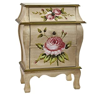 Nearly Natural 7012 Antique Night Stand w/Floral Art Nightstand Beige/Pink/Gold