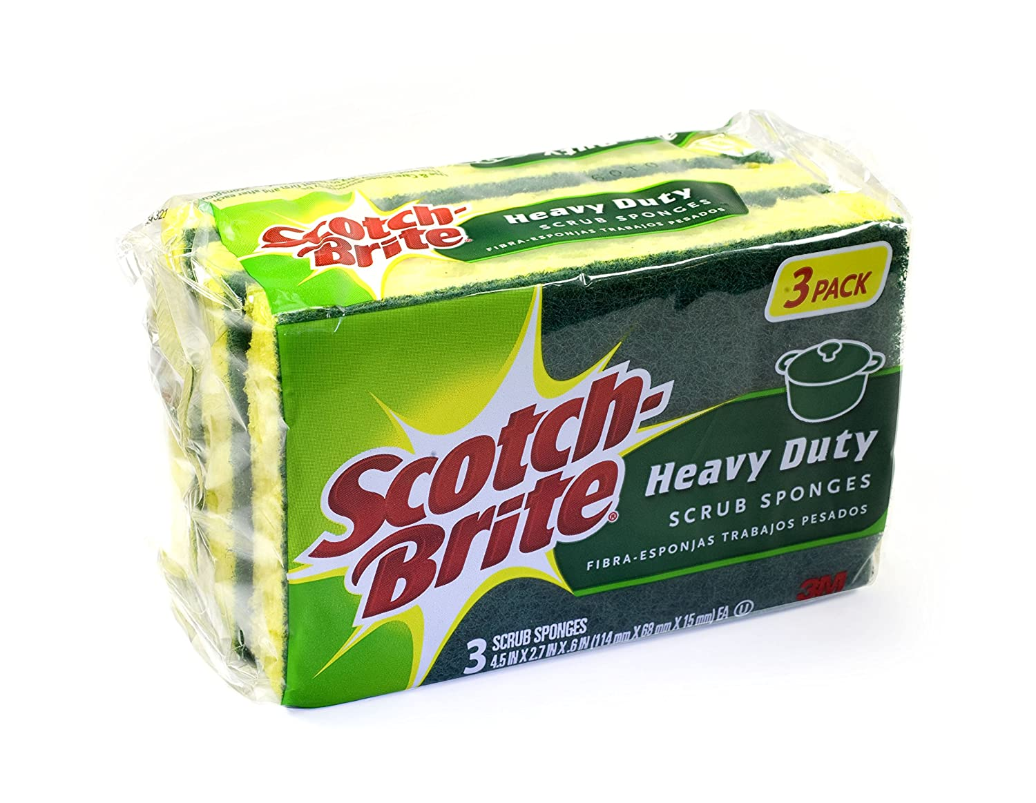 Scotch Brite MMMHD3 Heavy Duty Scrub Sponge Yellow Green 3 Per Pack
