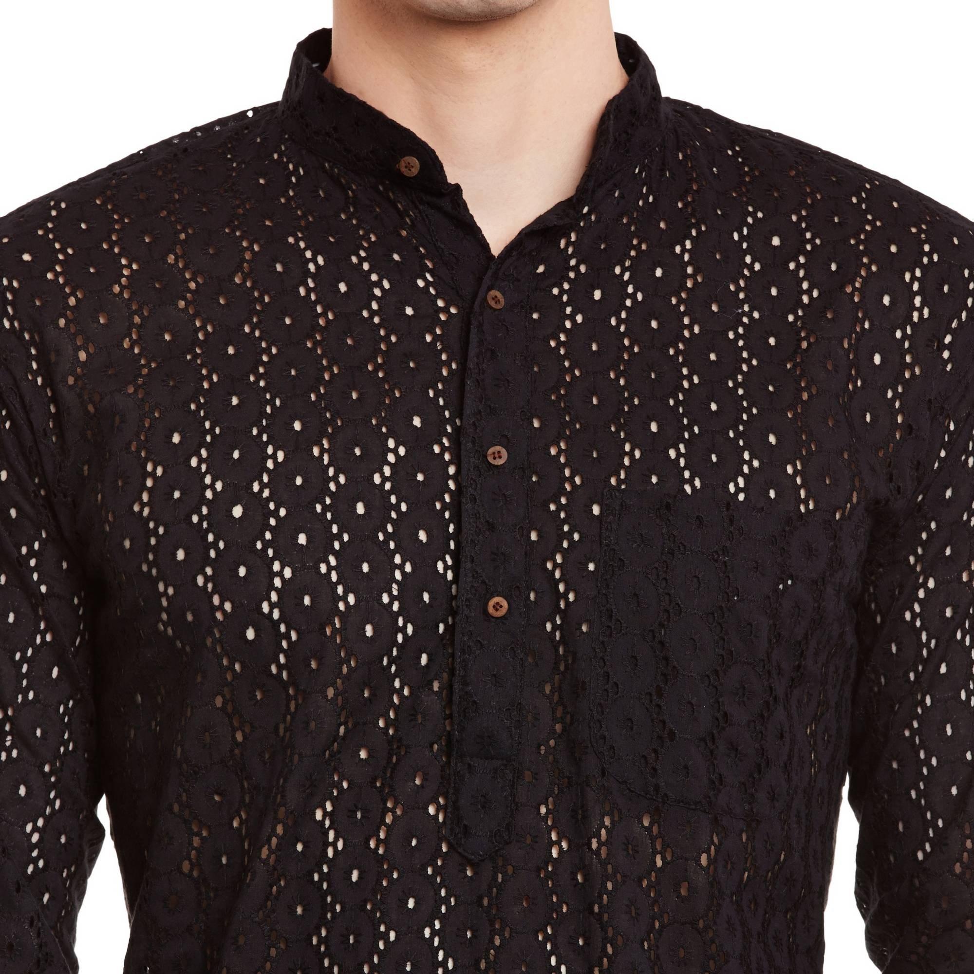 ShalinIndia Mens Embroidered Cutwork Cotton Kurta With Churidar Pajama Trousers Machine Embroidery,Black Chest Size: 40 Inch by ShalinIndia (Image #5)