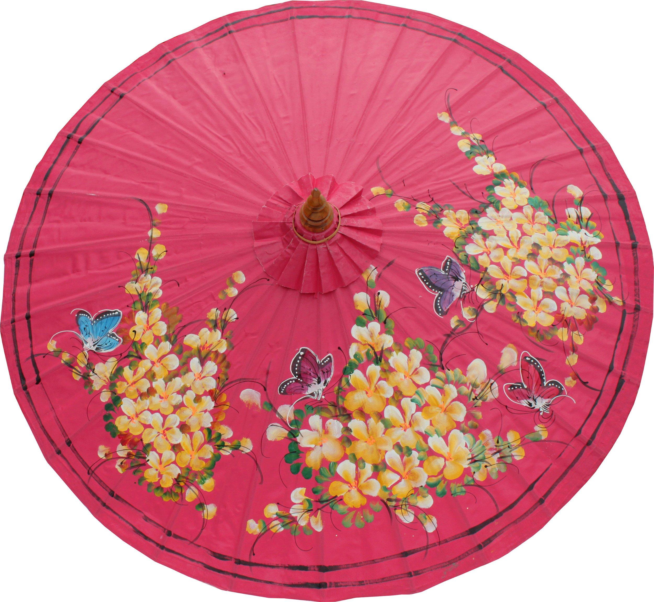 RaanPahMuang Thai Home Decoration Umbrella with Hand Painted Thailand Flower Art, (radius when open) 17 inch, Pink artwork #A