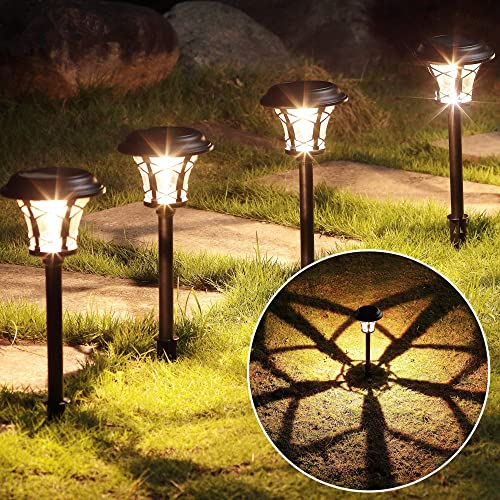 MAGGIFT 25 Lumen Solar Powered Pathway Lights, Super Bright SMD LED Outdoor Lights, Stainless Steel Glass Waterproof Light for Landscape, Lawn, Patio, Yard, Garden, Deck Driveway, 6 Pack, Warm White