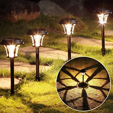 Amazon Com Maggift 6 Pack 25 Lumen Solar Powered Pathway Lights Super Bright Smd Led Outdoor Lights Stainless Steel Glass Waterproof Light For Landscape Lawn Patio Yard Garden Deck Driveway Warm White