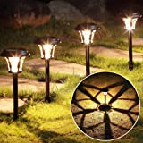 MAGGIFT 6 Pack 25 Lumen Solar Powered Pathway Lights, Super Bright SMD LED Outdoor Lights, Stainless Steel & Glass…