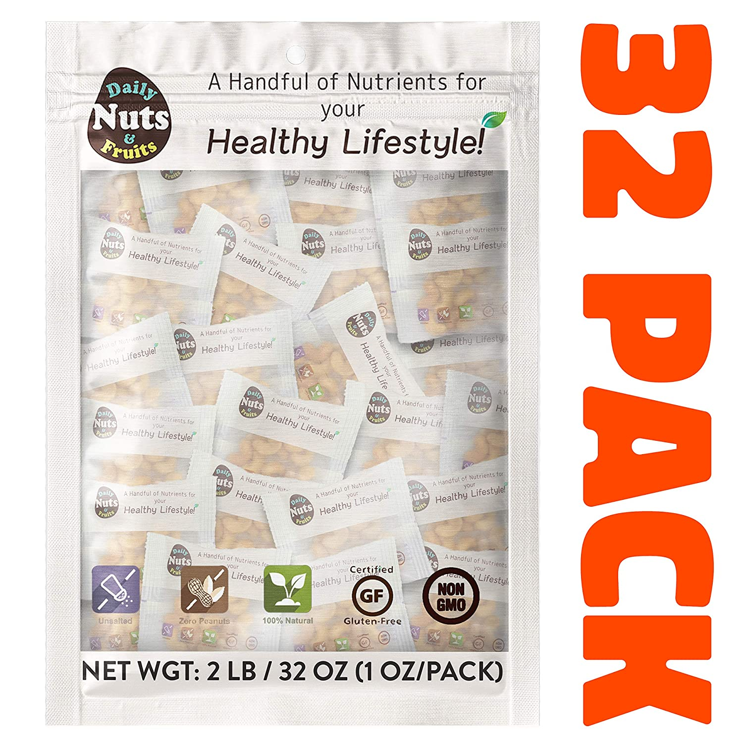 """""""Just Cashews"""" 2 LB, WHOLE-KERNEL (Fresh Light-Roasted), 32 packs (1 oz), UN-SALTED, No Additives, On the go, Natural,On the Go,Multi Pack, Great for Keto Diet! (KOSHER CERTIFIED)"""