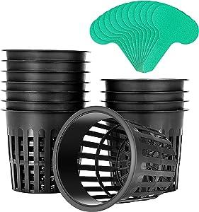 VIVOSUN 12 Pack 4 Inch Net Pots Heavy Duty Net Cups with 12 Pcs Plant Labels