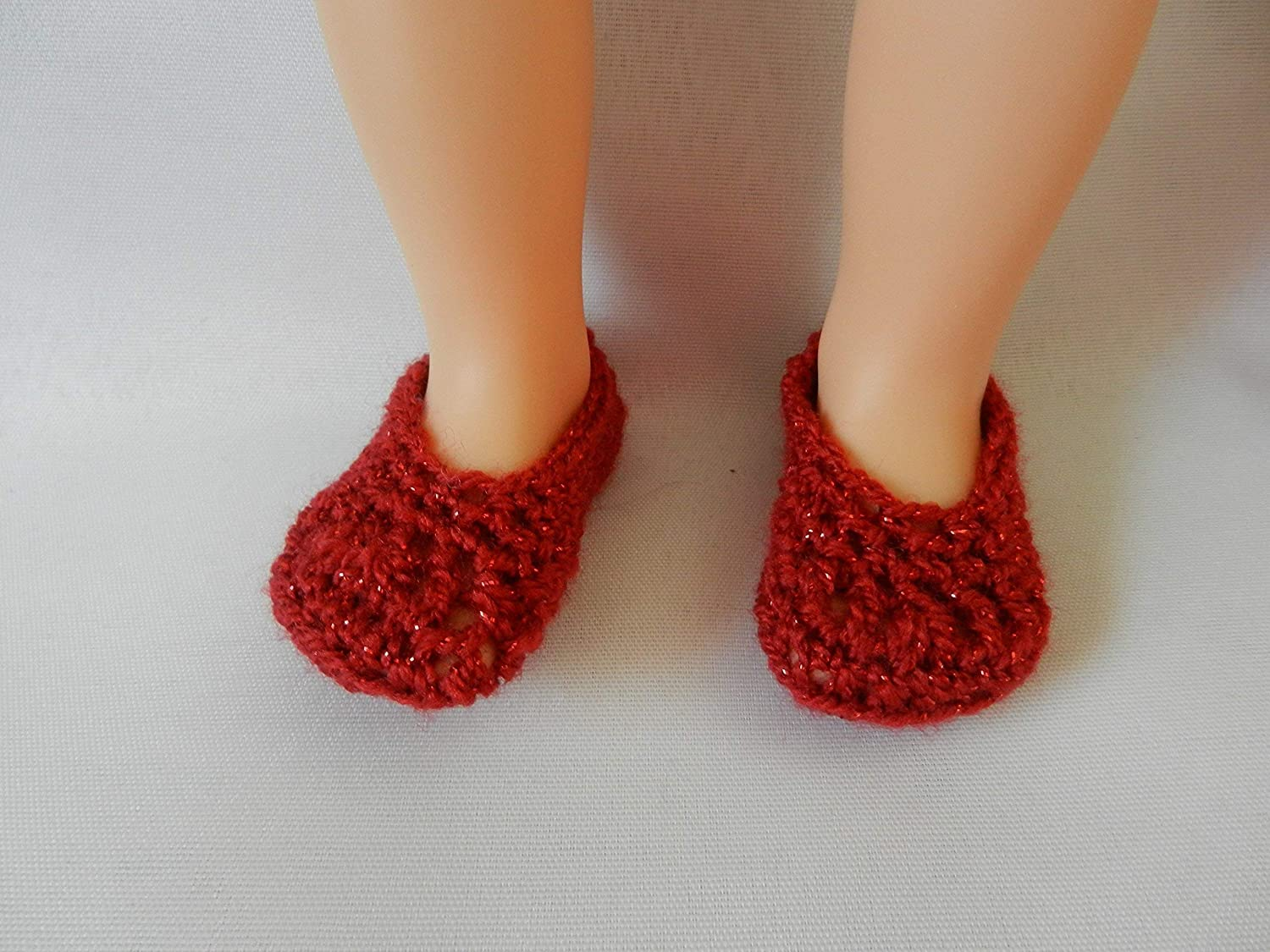 Sparkle Red Doll Slippers fit American Girl, FAO Swartz, My Life, Journey Girls, Disney Toddler Princess, Baby Alive and other similar size dolls