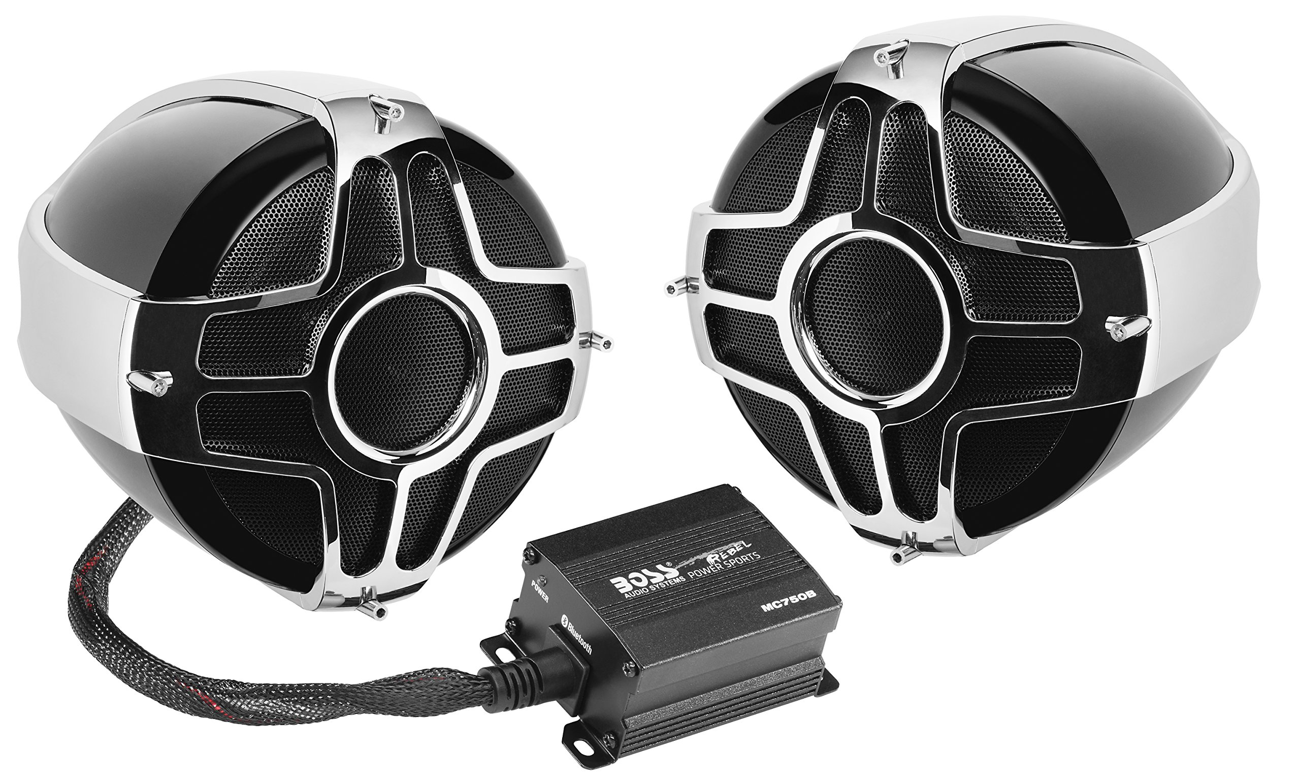 BOSS Audio MC750B Bluetooth, Weatherproof Speaker And Amplifier Sound System, Two 4 Inch Speakers, Bluetooth Amplifier, Inline Volume Control, Ideal For Motorcycles/ATV and 12 Volt Applications