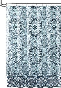 Hudson & Essex Teal Aqua Fabric Shower Curtain: Floral Gems Mandala Print with Geometric Border Design