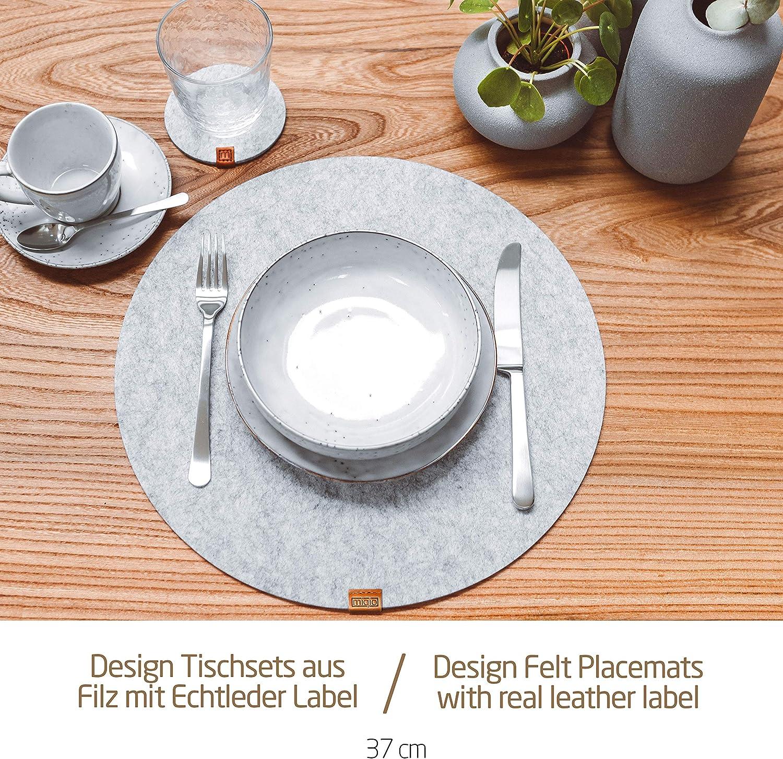 4 Sets Lavable Feutre et Cuir Rond 37 cm Set de Table Design 8 Pi/èces pour 4 Personnes Miqio/® 4 Dessous de Verres Gris Fonc/é Anthracite