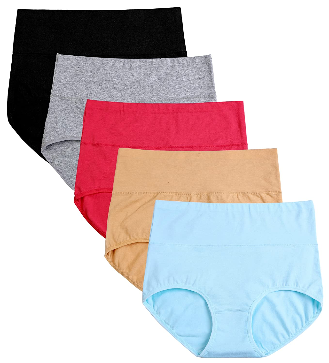 cauniss Womens High Waist Cotton Panties C Section Recovery Postpartum Soft Stretchy Full Coverage Underwear(5 Pack)