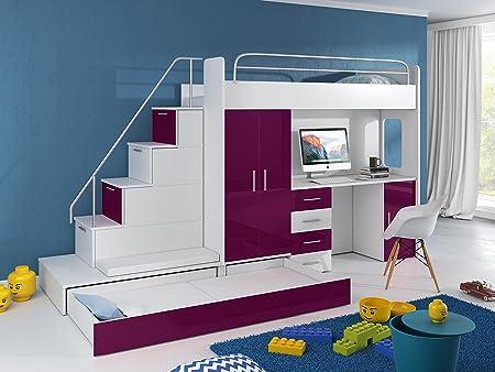 Cama alta TOMI – escritorio, armario, escalera y cama de invitados con frentes brillantes en blanco/negro/rosa/gris/violeta/azul: Amazon.es: Hogar