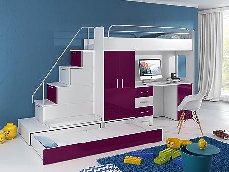 Etagenbett Treppe : Hochbett tomi schreibtisch schrank treppe und gästebett mit