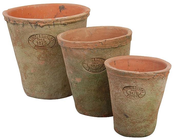 Esschert Design AT01 Aged Terracotta Round Pots (Set of 3)
