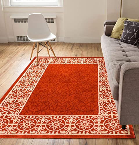 Well Woven Casa Tuscany Rust Orange Ivory Modern Classic Mediterranean Tile Border Floral 9×13 9 3 x 12 3 Area Rug Soft Stain Resistant