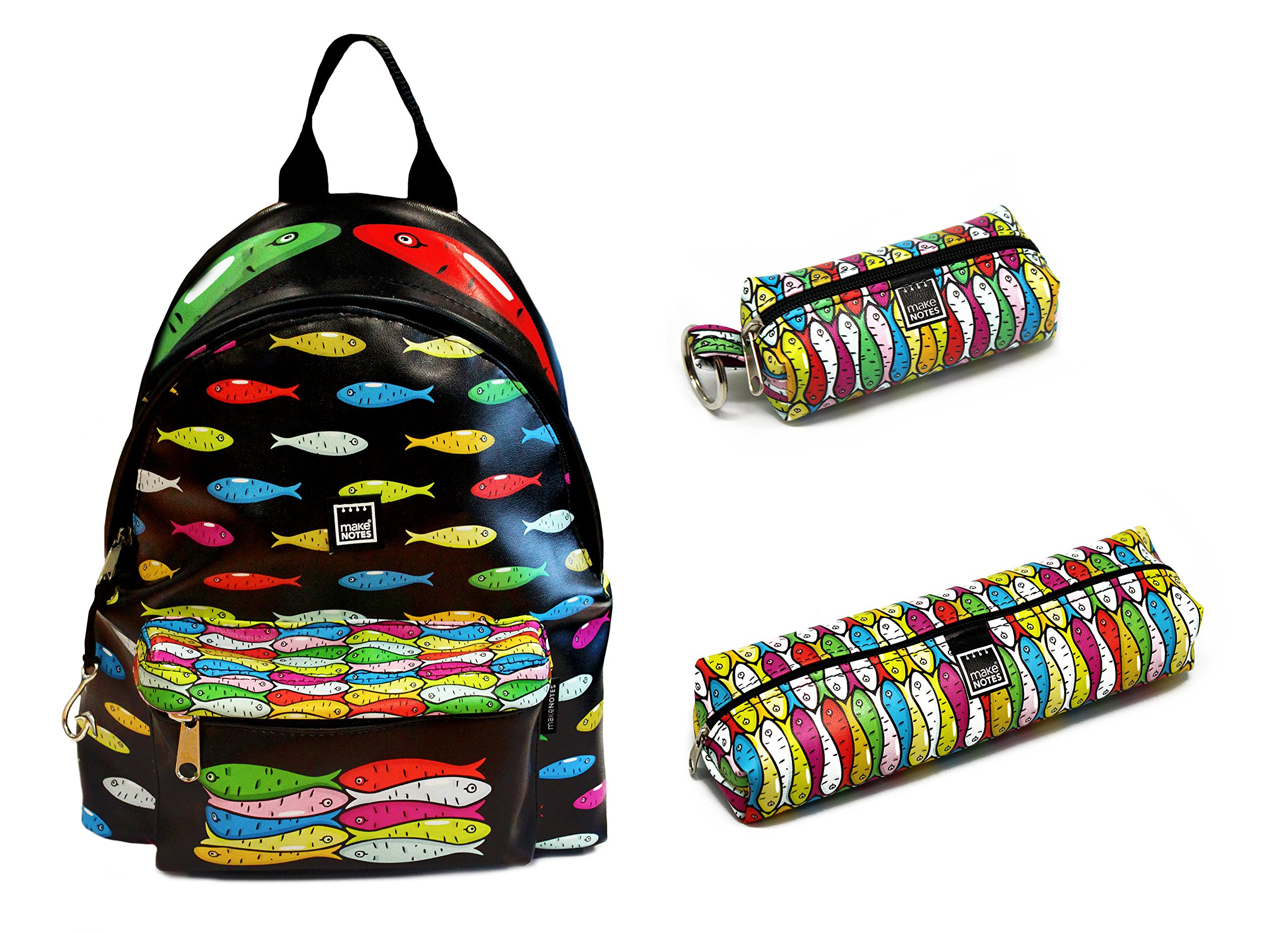 Large BackPack Set:Large BackPack Style SARDINES+Large Pencil Case+Key Ring by Make Notes
