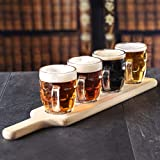Craft Bier Flight Tasting Set – 5-teiliges Set – Bier Paddel aus Holz mit 4 Half Pint Bohrmulden-Tasse Trinkkrüge