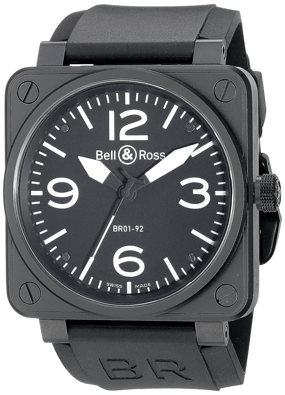 Bell & Rossメンズbr01 – 92 Carbon航空ブラックラバーストラップウォッチ B005O3X86Q