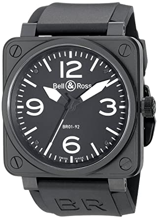 980a39d5e1 Amazon.com  Bell   Ross Men s BR01-92CARBON Aviation Black Rubber Strap  Watch  Bell   Ross  Watches