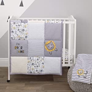Little Love By Nojo Roarsome Lion, Grey, Yellow, White 3Piece Nursery Mini Crib Bedding Set With Comforter, 2 Fitted Mini Crib Sheets, Yellow, Grey, White, Charcoal