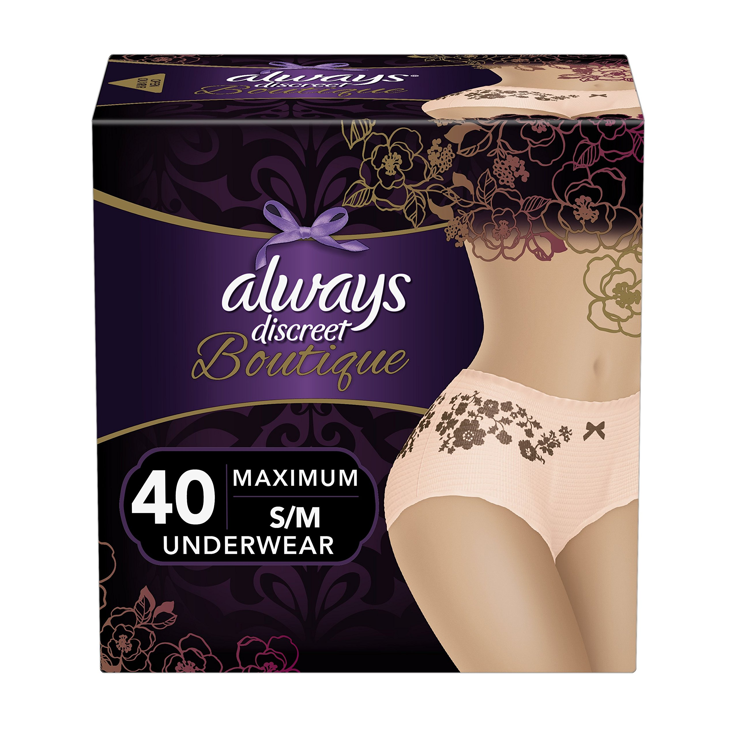 Always Discreet Boutique Incontinence Maximum Protection Underwear for Women, Small/Medium, 40 Count