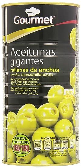 Gourmet - Aceitunas gigantes rellenas de anchoa - Verde manzanilla extra - 600 g - [
