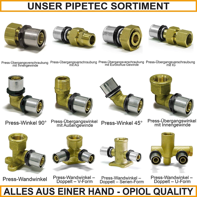 Pipetec Escuadra de uni/ón con rosca exterior 20 x 2-1//2, 1 unidad, para tubos de calefacci/ón Pressfitting TH