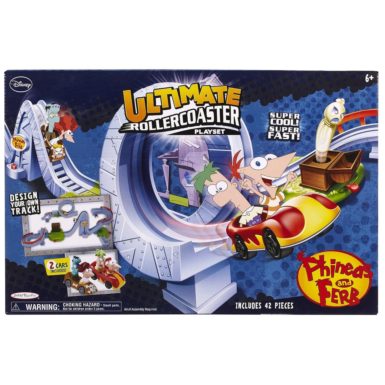 Phineas & Ferb Ultimate Roller Coaster / Achterbahn Spielzeug Set mit 2 Autos und Figuren aus USA