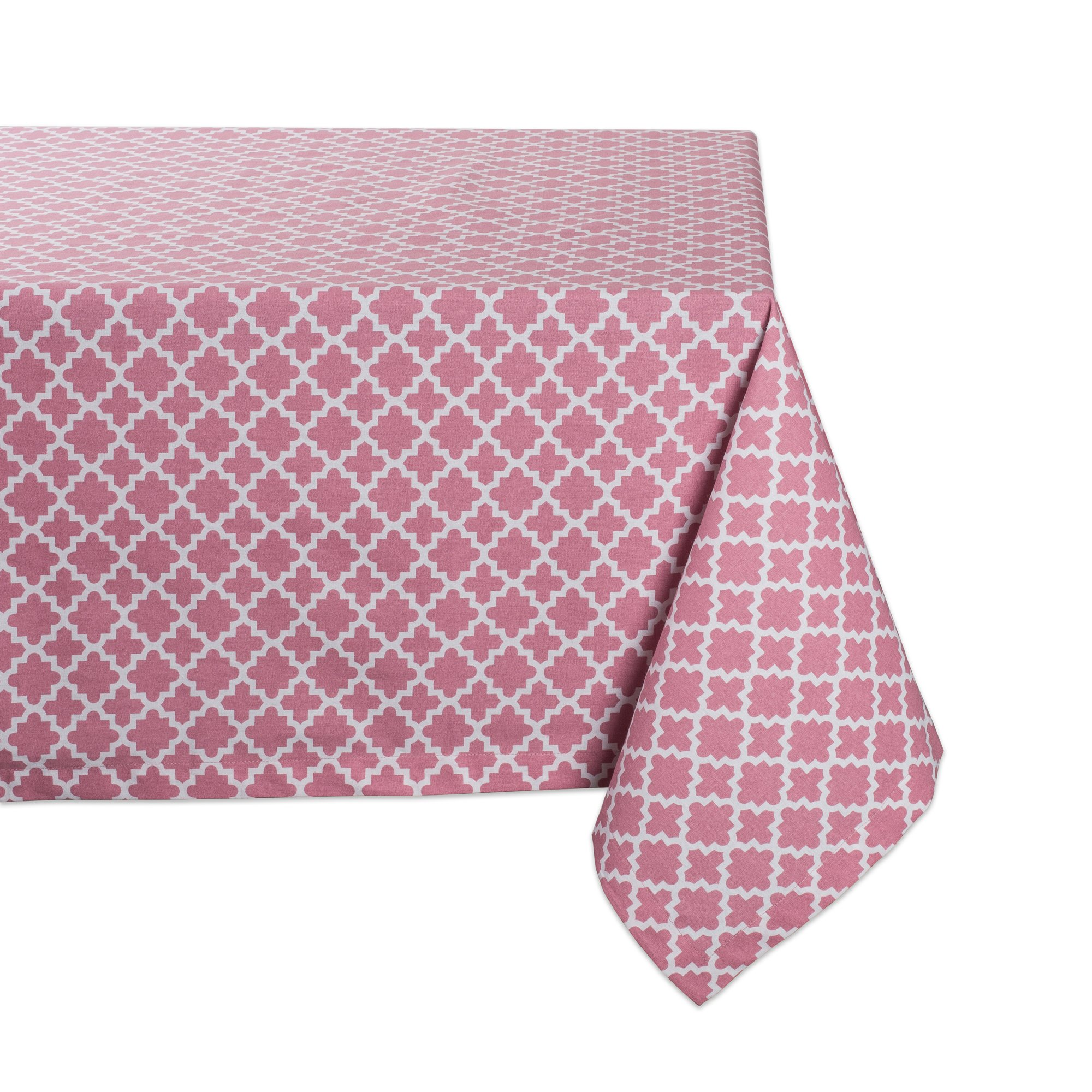 DII Rectangle Lattice Cotton Tablecloth for Weddings, Picnics, Spring Parties and Everyday Use - 60x84'', Rose Pink and White