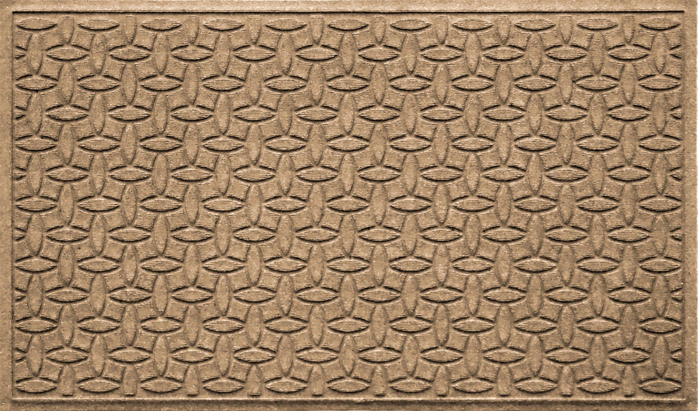 Bungalow Flooring Waterhog Doormat, 3' x 5', Skid Resistant, Easy to Clean, Catches Water and Debris, Ellipse Collection, Khaki