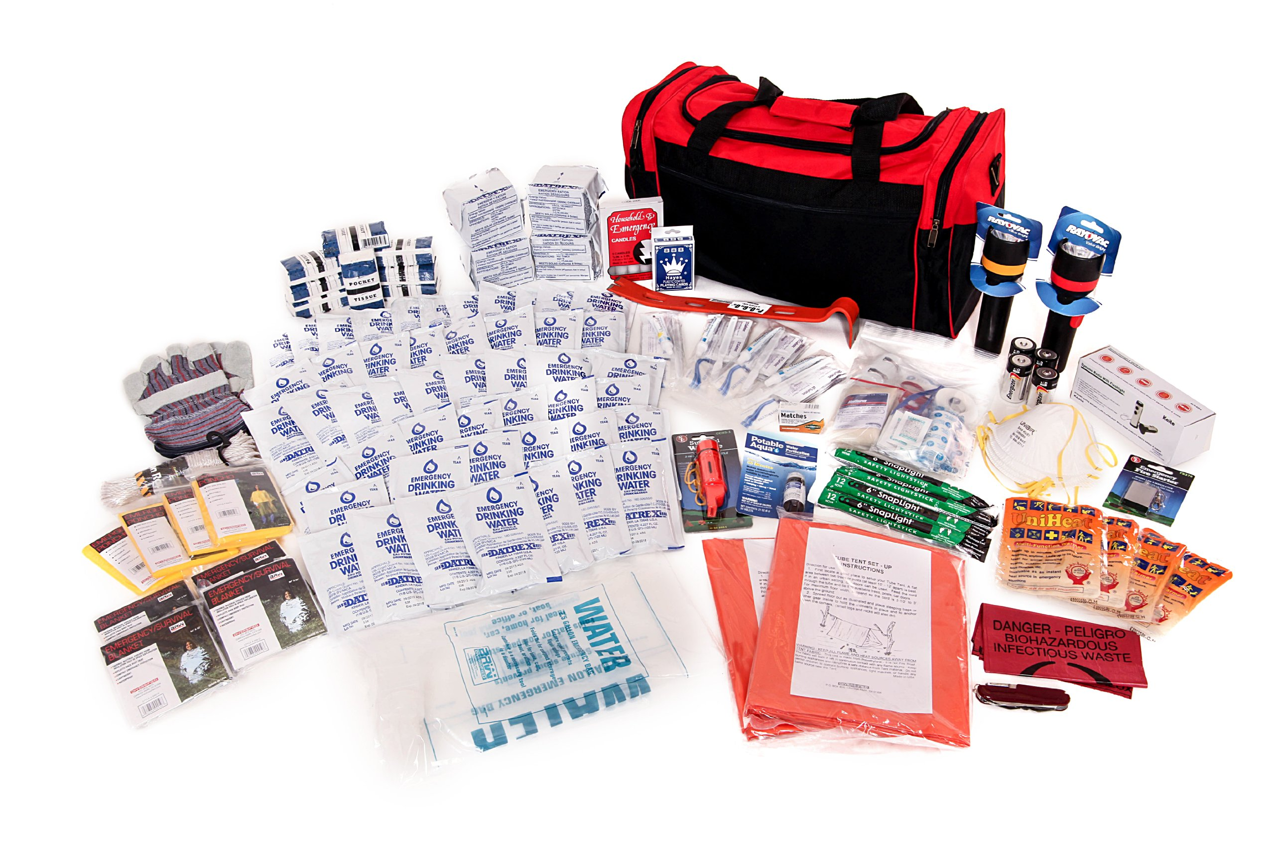 4 Person Survival Kit Deluxe - Prepare For Earthquake, Evacuation, Emergency Disaster Preparedness 72-Hour Kits for Home, Work, or Auto by Survival Prep Warehouse
