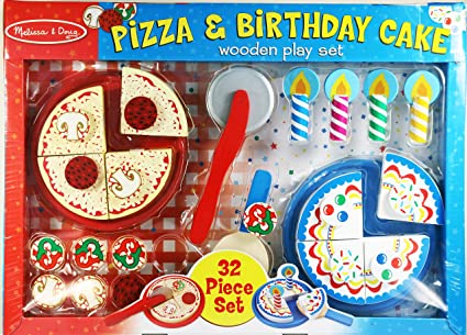 Amazon Com Melissa Doug Pizza Birthday Cake Wooden Play