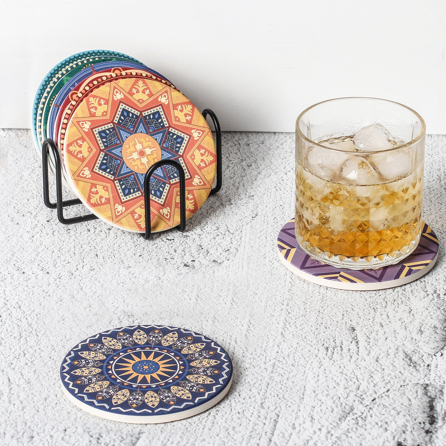 Lifver 4.5 Inch Black Iron Metal Coasters Holder For Both Round and Square Coasters, Hold Up To 7 Lifver Coasters by Lifver (Image #4)
