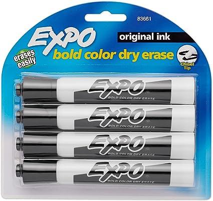 Expo Chisel tip Dry Erase Marker black 83661 markers original ink 2 4-pack 8