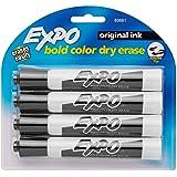 EXPO Original Dry Erase Markers, Chisel Tip, Black, 4-Count