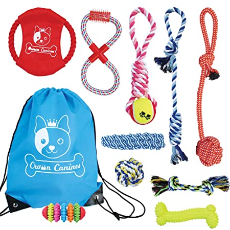 Review Crown Canines Dog Rope & Chew Toy 10 Pack Set | Puppy Starter Kit | For Small to Medium Dogs, Interactive Variety Toys w/Nylon Storage Bag | For Tug of War, Ball, Teething Puppies