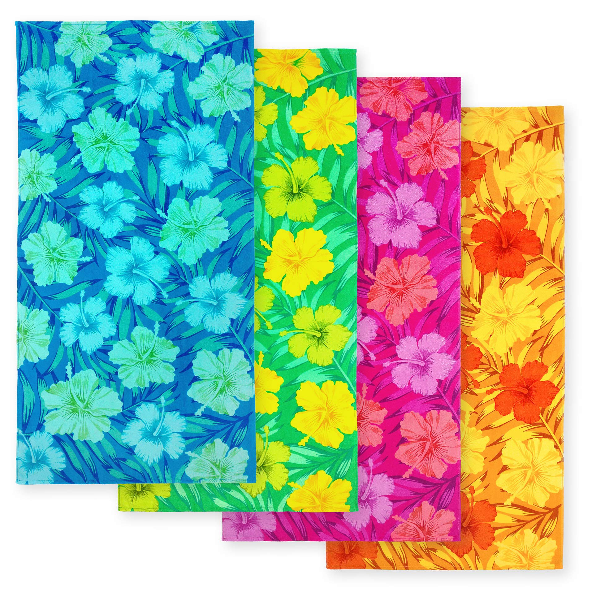 Kaufman - Hibiscus Beach Towel with A Ground LINE - 4 PC Pack - 106013 by Ben Kaufman Sales (Image #1)