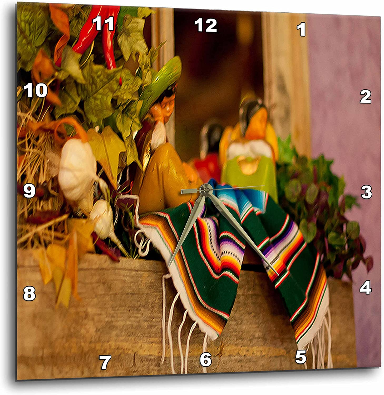 "3dRose Hispanic Girl and Boy Ceramic Hanging on A Mirror with Hot Chili's and Leaves at Mexican Restaurant-Wall Clock, 13 by 13"" (DPP_52081_2)"