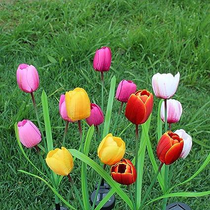 Garden Art Outdoor Solar Tulip LED Flower Light, Solar Garden Stake  Flowers, Decorative Solar