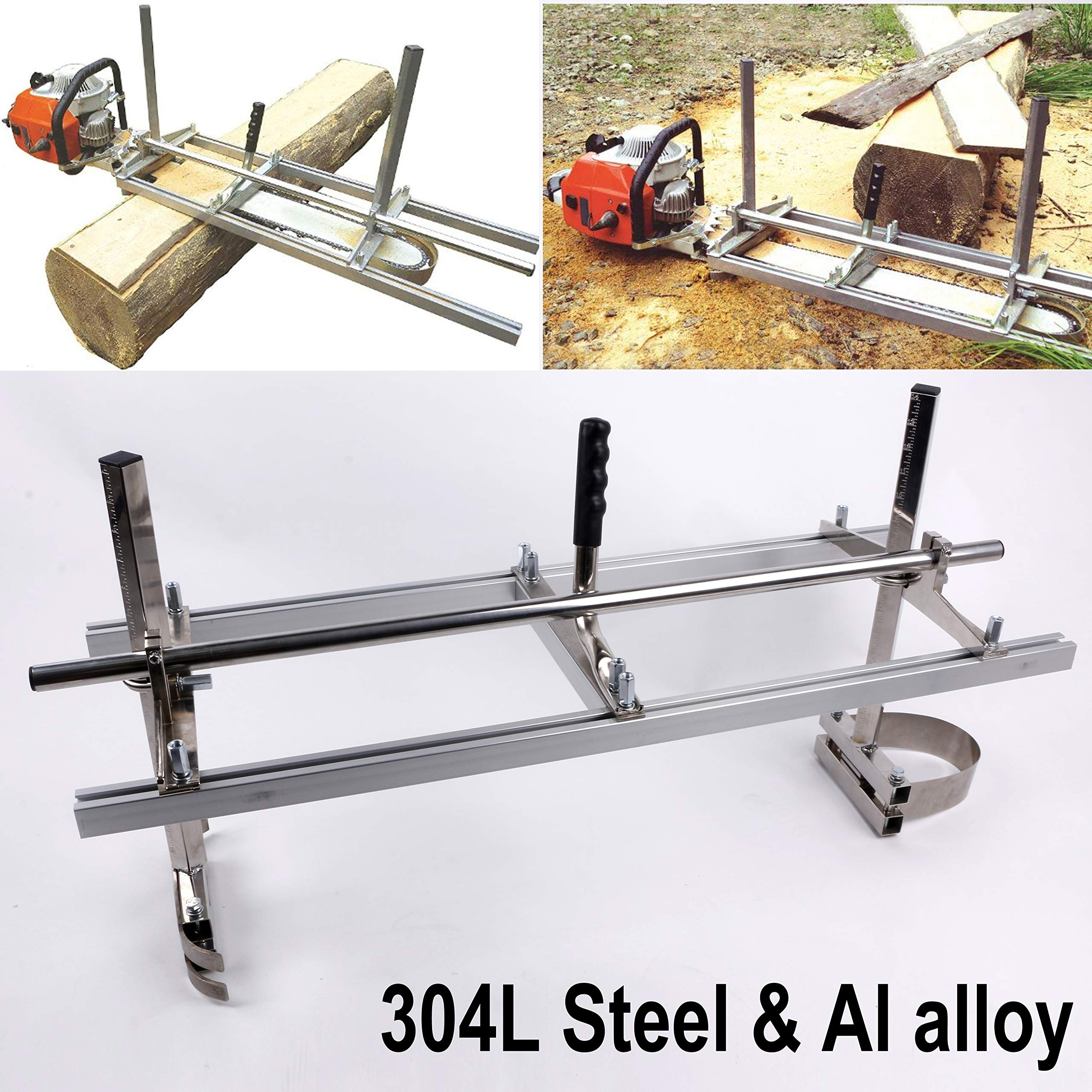 chainsaw mill Portable Chainsaw mill 36'' Inch 304 Steel Planking Milling Bar Size Cutting Milling 14'' to 36''